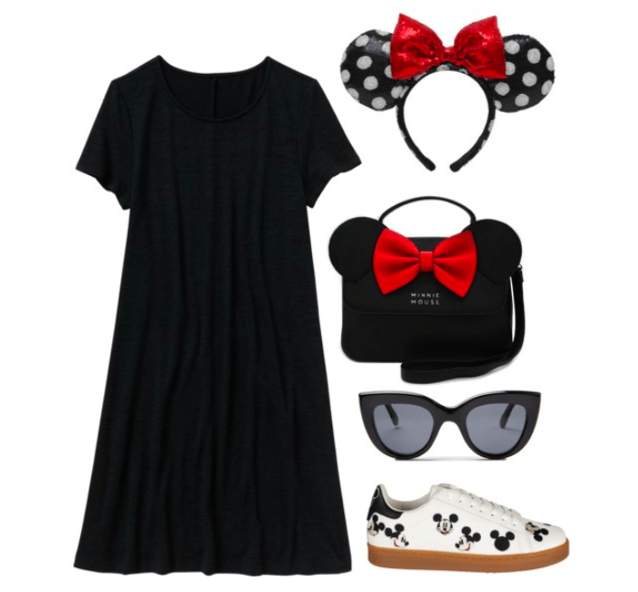 Minnie inspired outfit for the Disney parks: Black t-shirt dress with Mickey Mouse sneakers. Accessories include Minnie ears, a Minnie purse and cat eye sunglasses
