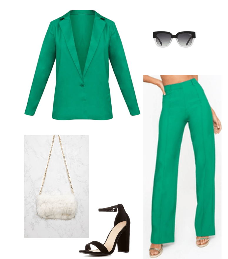 Outfit inspired by Cardi B's New York Fashion Week look. Green matching suit, white fur clutch, black heels, statement Quay sunglasses
