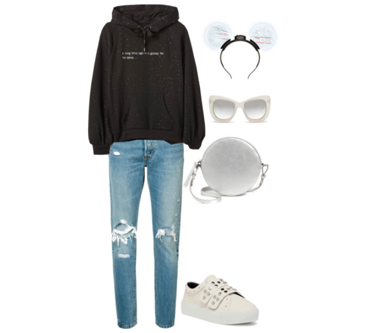 Star Wars inspired outfit for the Disney parks: Black Star Wars sweatshirt with distressed Levi jeans. Accessories include sneakers, a metallic crossbody, sunglasses and Star Wars ears.
