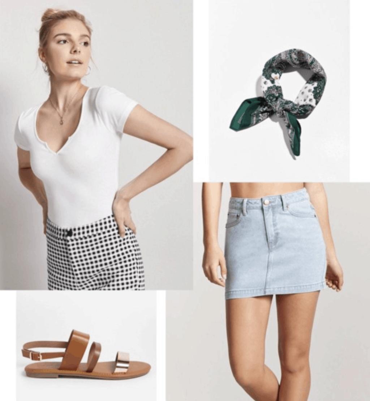 denim skirt, white t-shirt, brown sandals, green neck scarf