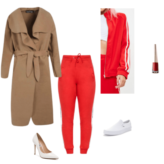 Zendaya New York Fashion Week 2018 inspired outfit. Red tracksuit, longline coat, white heels.