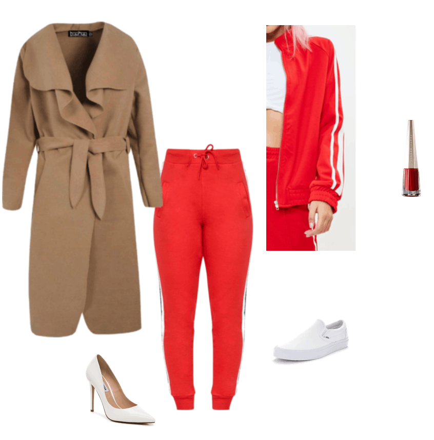 Zendaya New York Fashion Week 2018 inspired outfit. Red tracksuit, longline coat, white heels.
