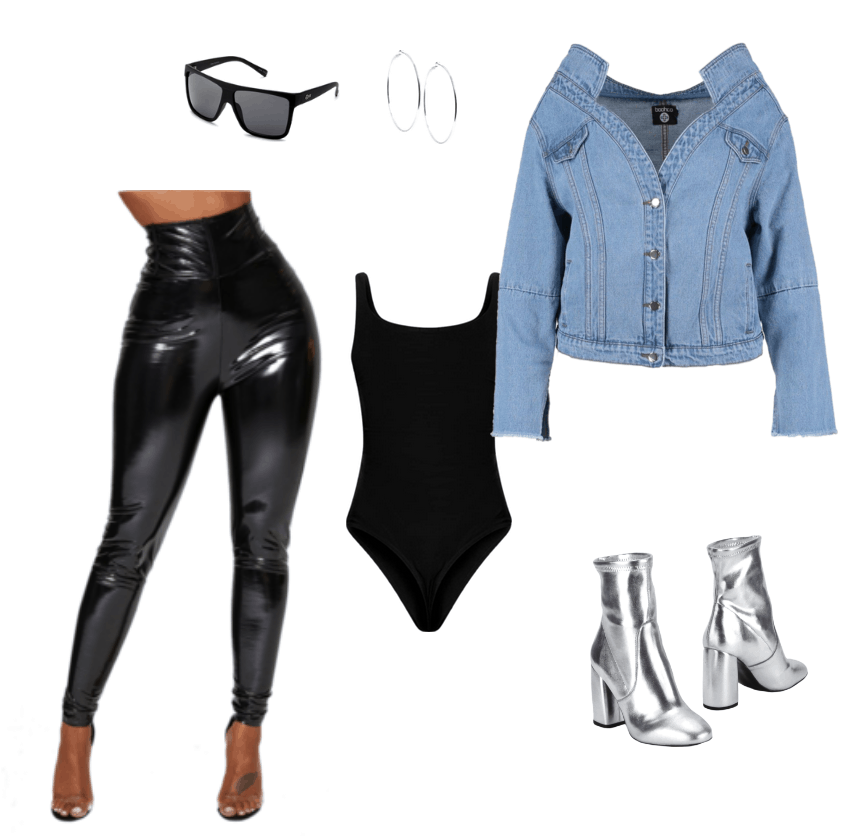 Outfit inspired by Lala Anthony's NYFW outfit. Off the shoulder jacket, leather pants, metallic bootie, bold sunglasses
