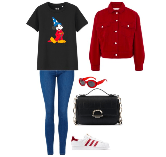 What to wear to the Disney parks: Outfit with blue jeans, Mickey Mouse tee shirt, burgundy denim jacket, black chain strap handbag, red sunglasses, Adidas sneakers