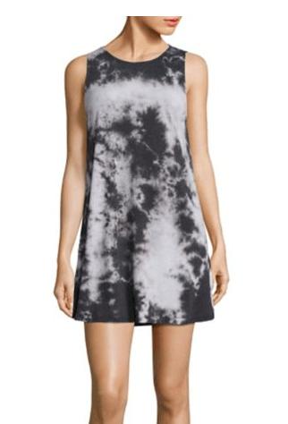 Black and gray tie dye sleeveless tee shirt dress from Alice + Olivia