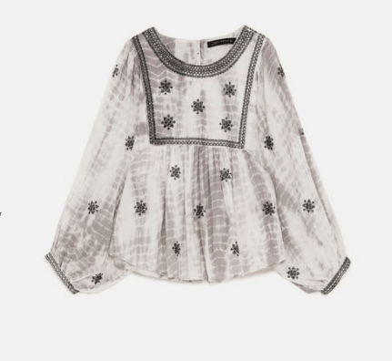 Gray and cream tie dye peasant blouse from Zara