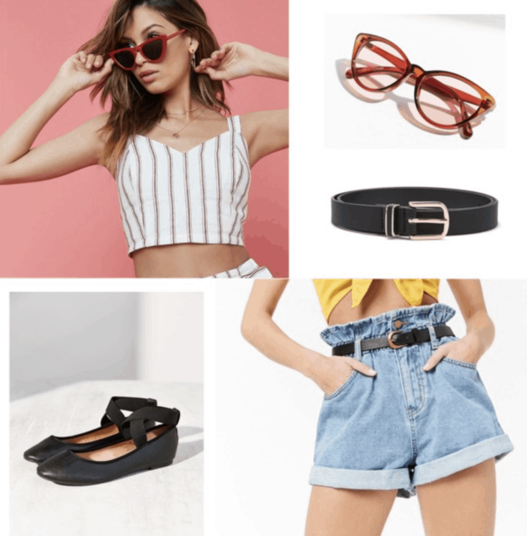 cropped cami, stripes, vintage sunglasses, red, black belt, faux leather, flats, high waisted shorts, denim