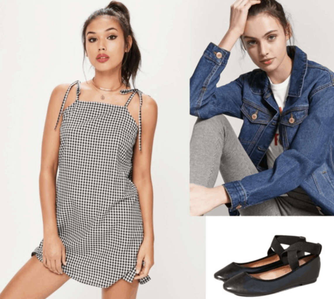 gingham, shift dress, denim jacket, black flats, spring