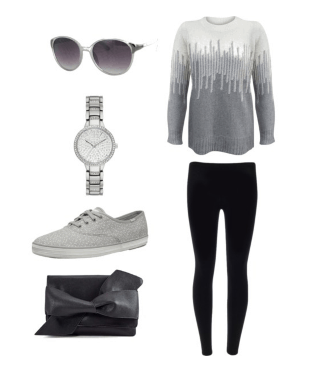 Cute everyday outfit: Black leggings, gray and white sweater, gray Keds sneakers, black bow clutch, silver watch, silver sunglasses