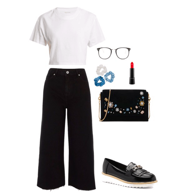White t-shirt, jeans, loafer, glasses, lipstick and purse