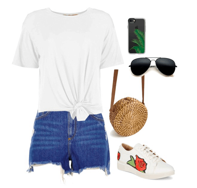 White t-shirt, shorts, phone case, sunglasses, straw bag, sneakers