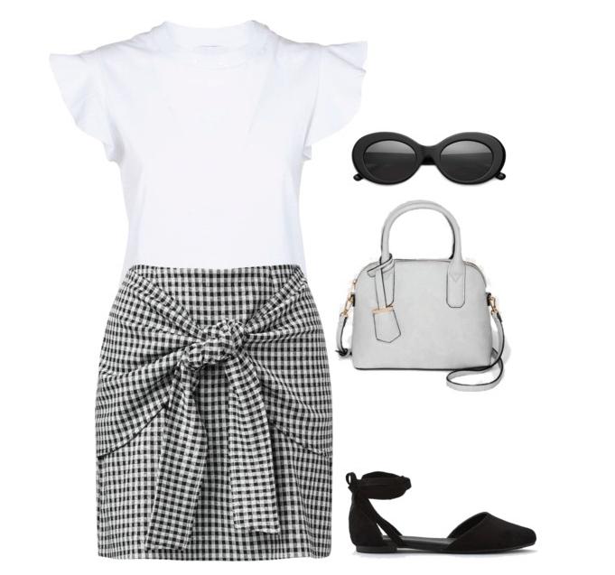 White t-shirt, gingham skirt, handbag, sunglasses and flats