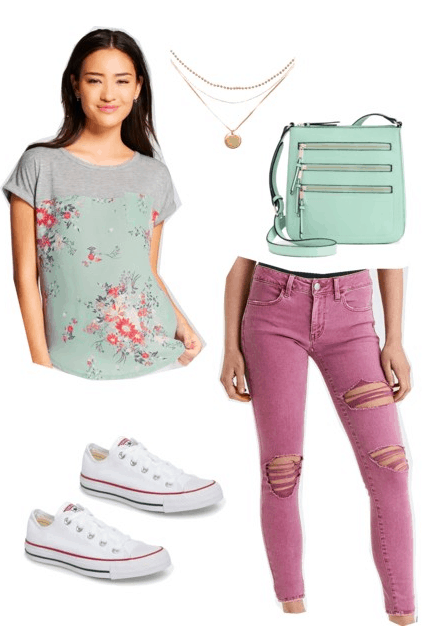 How to wear florals this spring: Outfit idea with layered floral tee shirt, fuchsia jeans, mint green crossbody bag, layered gold necklaces, white Converse sneakers