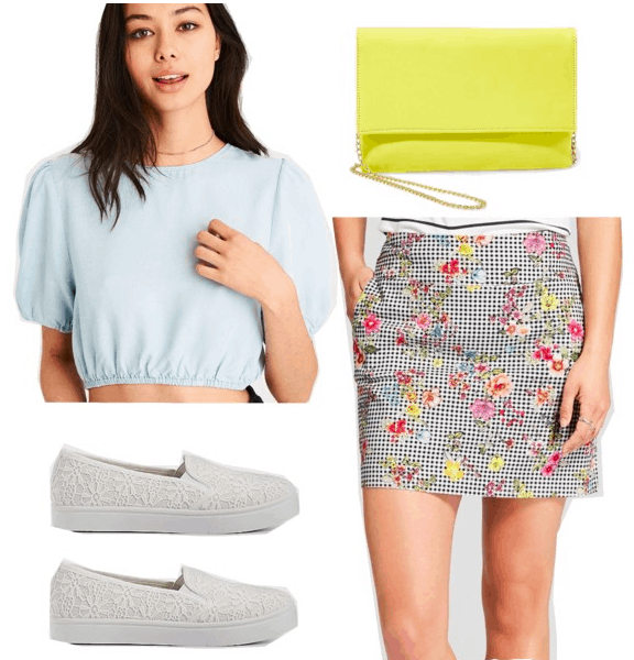 How to wear florals: Floral and gingham print skirt, pale blue crop top with puff sleeves, white lace slip-on sneakers, yellow crossbody bag