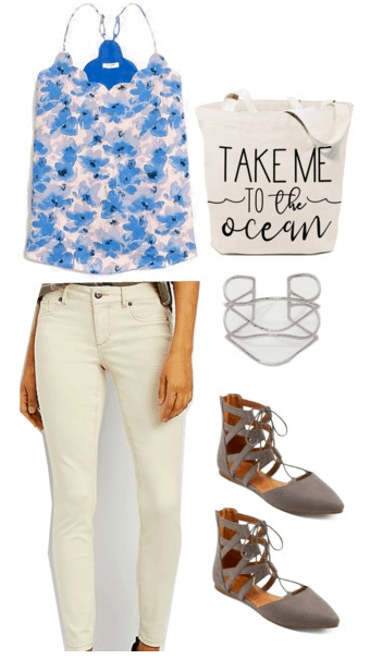 How to wear florals for spring: Outfit with blue and white floral cami top, tote bag that reads Take Me to the Ocean, white jeans, layered silver cuff bracelet, lace-up ballet flats in taupe