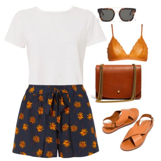 White t-shirt, shorts, bralette, sunglasses, purse and sandals