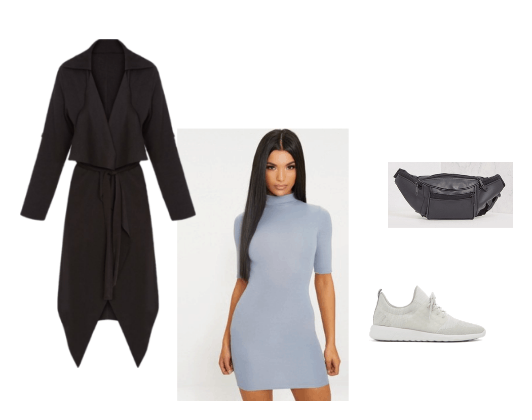 Outfit inspired by Kim K Tokyo trip. Blue dress, longline coat, fanny pack, sneakers