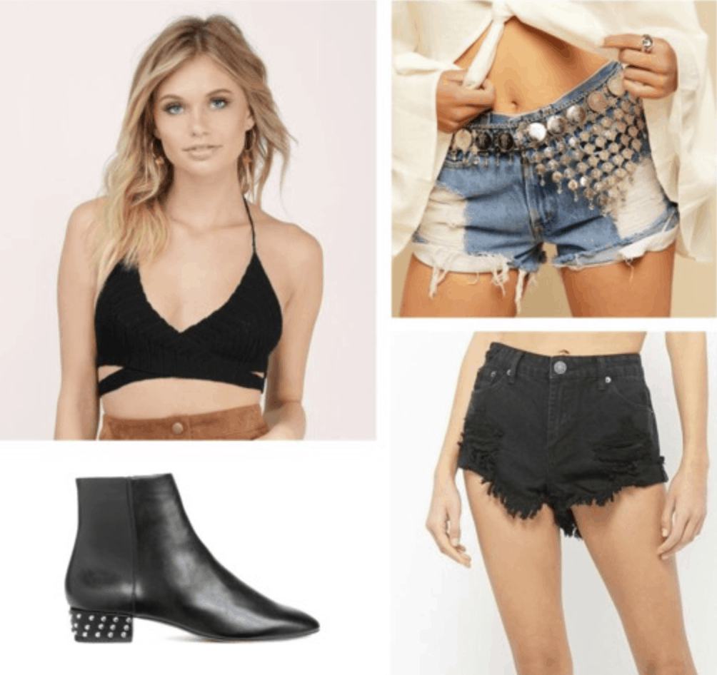 crochet top, chain belt, black booties, frayed shorts, high waisted shorts, metallic, edgy