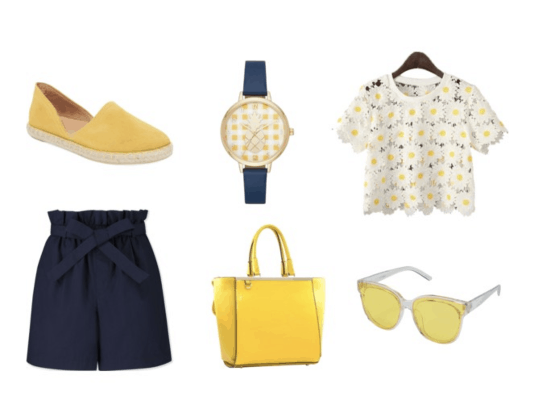 Navy blue shorts and watch, daisy top, yellow espadrilles, handbag and sunglasses.