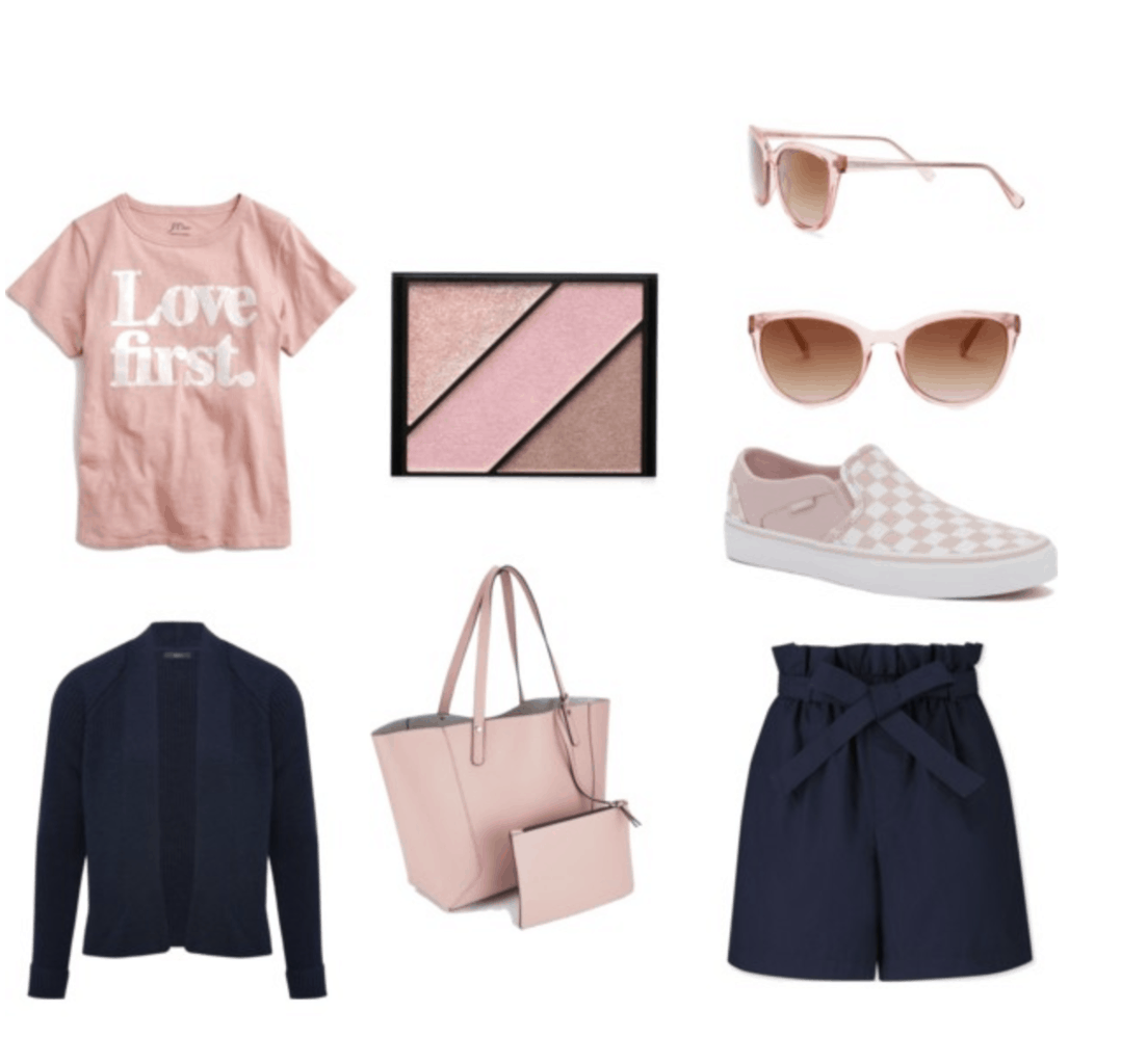 """Navy shorts, navy cardigan, pink """"love first"""" t-shirt, pink sneakers, pink tote bag and pink sunglasses."""