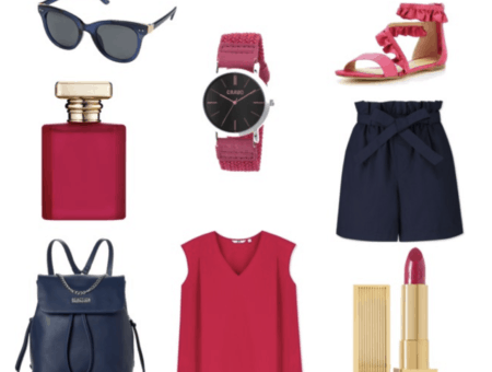 Navy shorts, backpack and sunglasses, hot pink top, sandals, watch, perfume and lipstick.