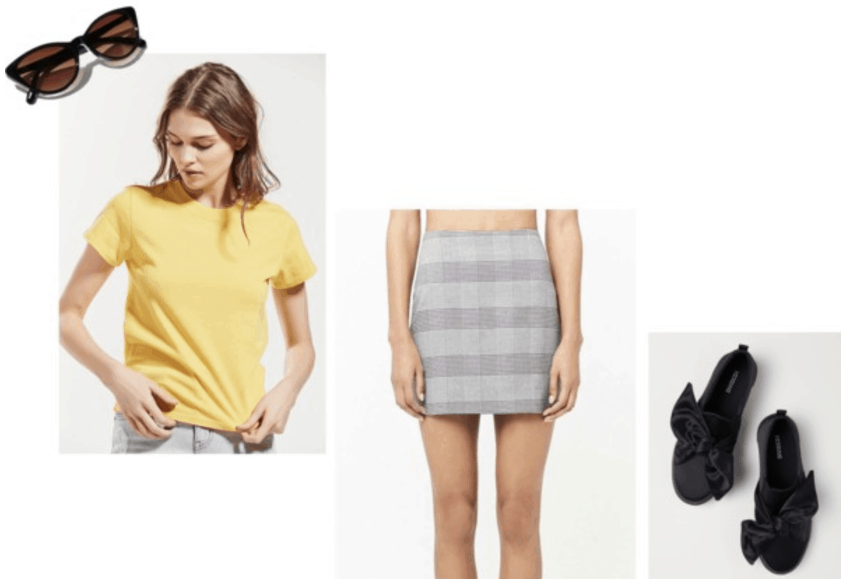 pastel, yellow, plaid skirt, cat eye sunglasses, black bow sneakers, spring