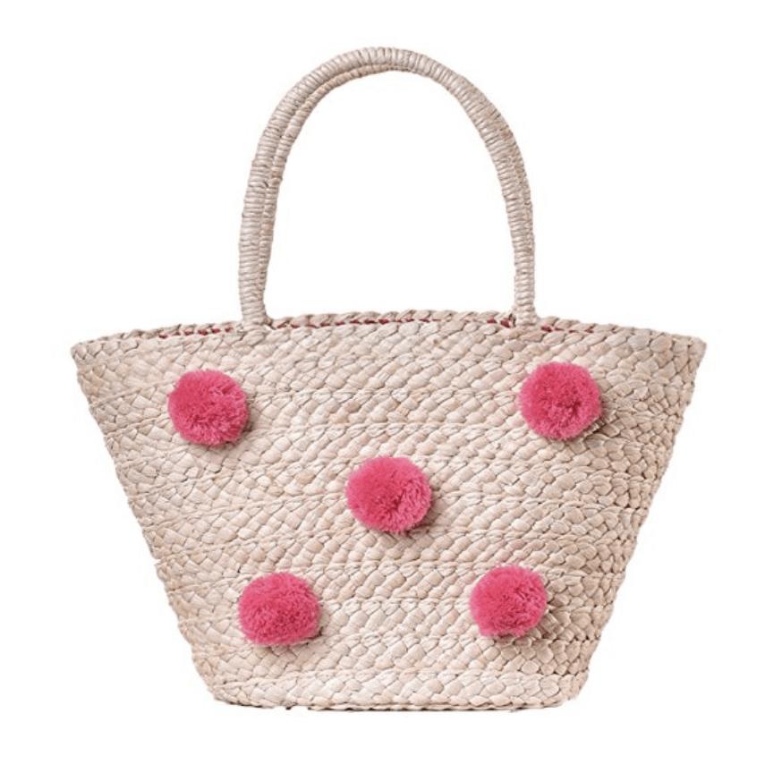 Straw pink polka dot bag.