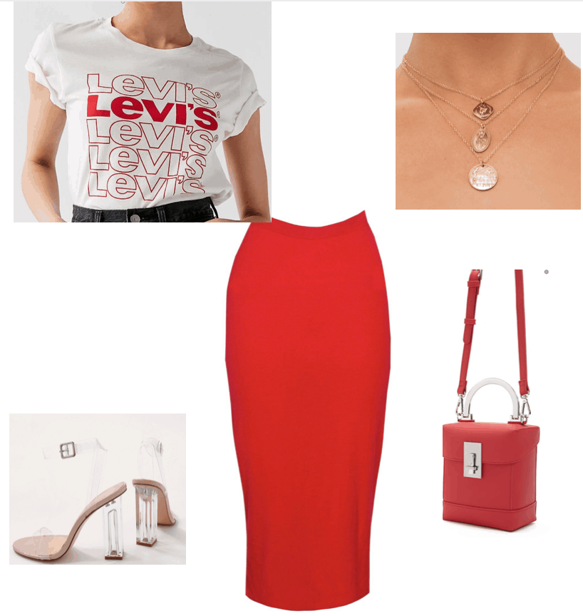 outfit inspired by Beyonce instagram post, red midi skirt