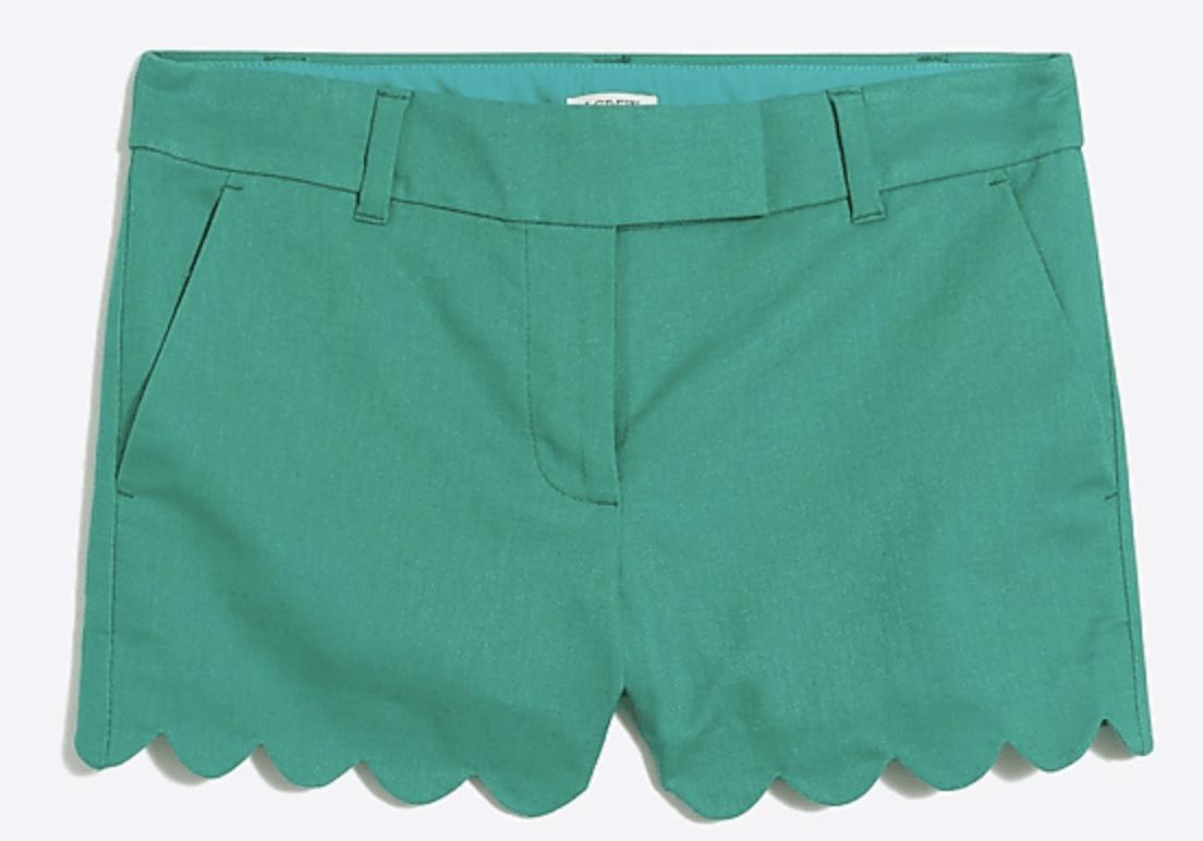 Turquoise scalloped shorts