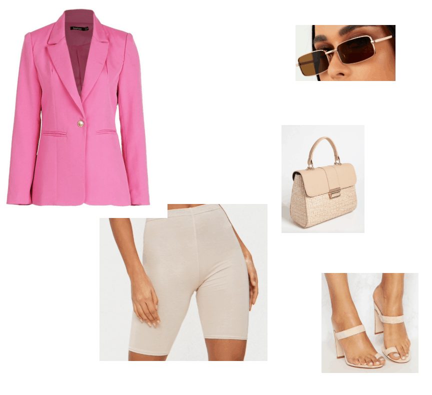 Summer  outfits featuring pink blazer and nude biker shorts