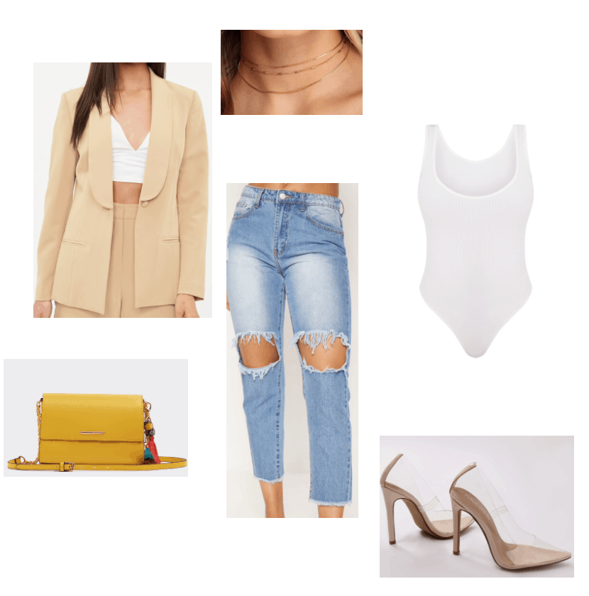 Summer/spring outfit featuring nude blazer, jeans, and heels