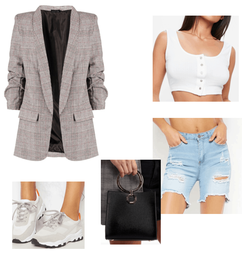 Summer outfit featuring plaid blazer and bermuda shorts