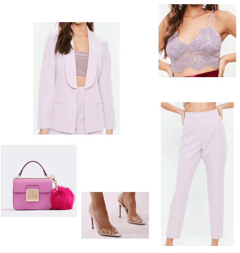 summer outfit featuring matching set lilac