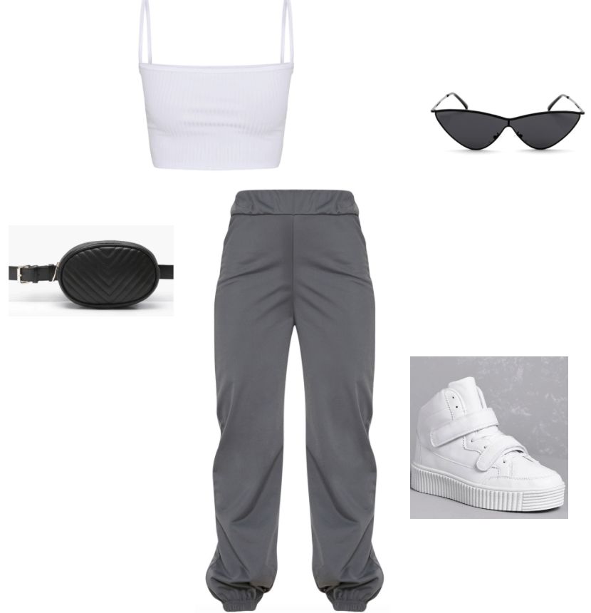 Outfit Inspired by Kylie Jenner, Instagram joggers, crop top, sneakers