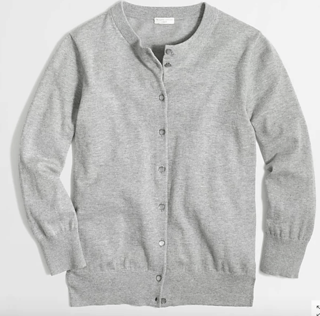 Gray cardigan.