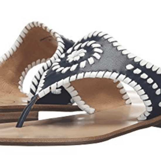 Black and white Jack Rogers sandals.