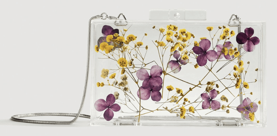 Flowers transparent box clutch.