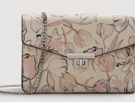 Pink floral handbag.