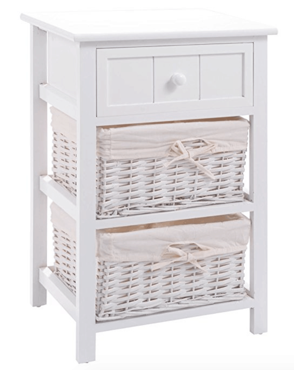 White shabby chic nightstand with top drawer and space for bins.
