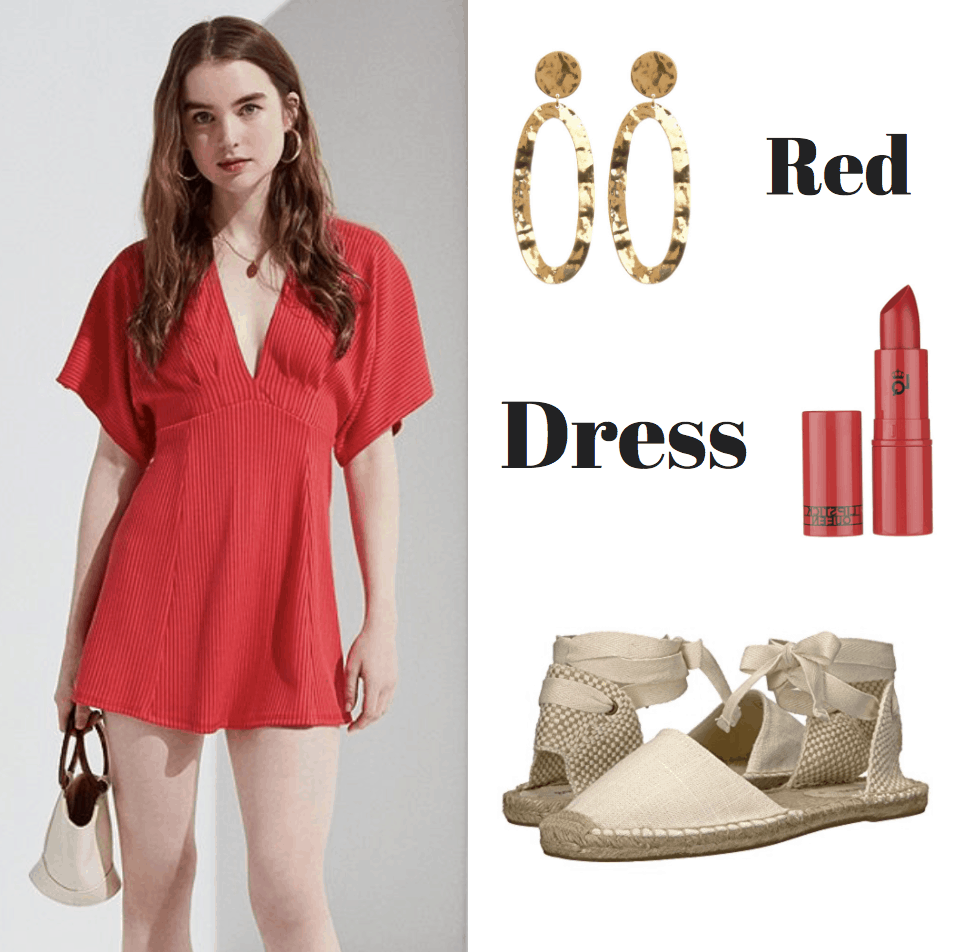 red dress, gold earrings, red lipstick, lace up sandals