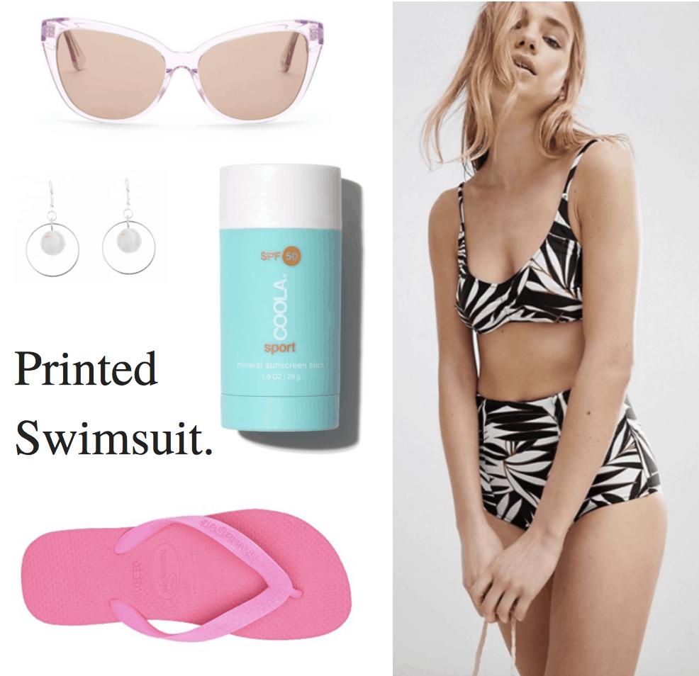 pink sunglasses, crystal earrings, sunscreen, pink flip flops, palm tree print bikini