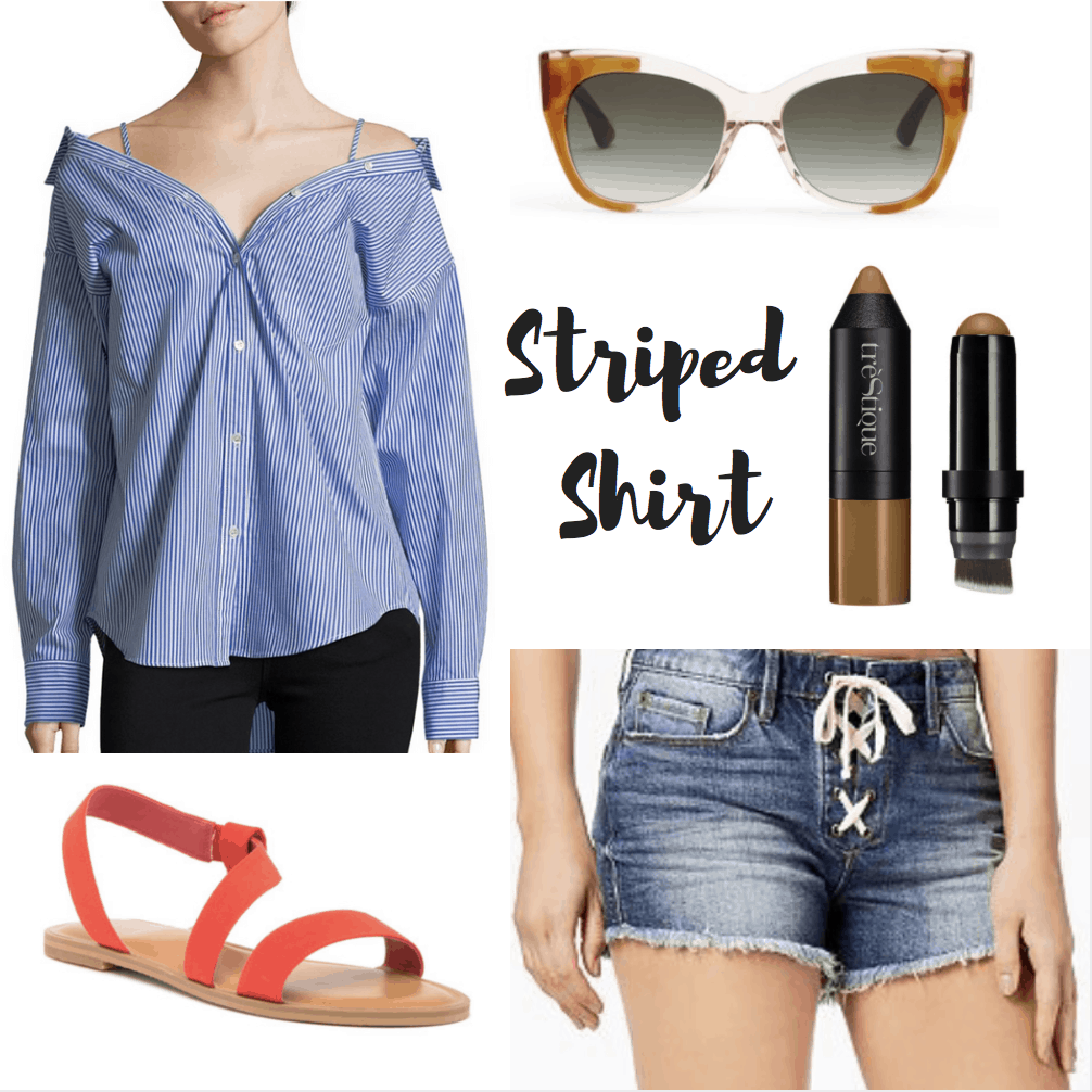 striped top, sunglasses, bronzer, lace-up shorts, sandals