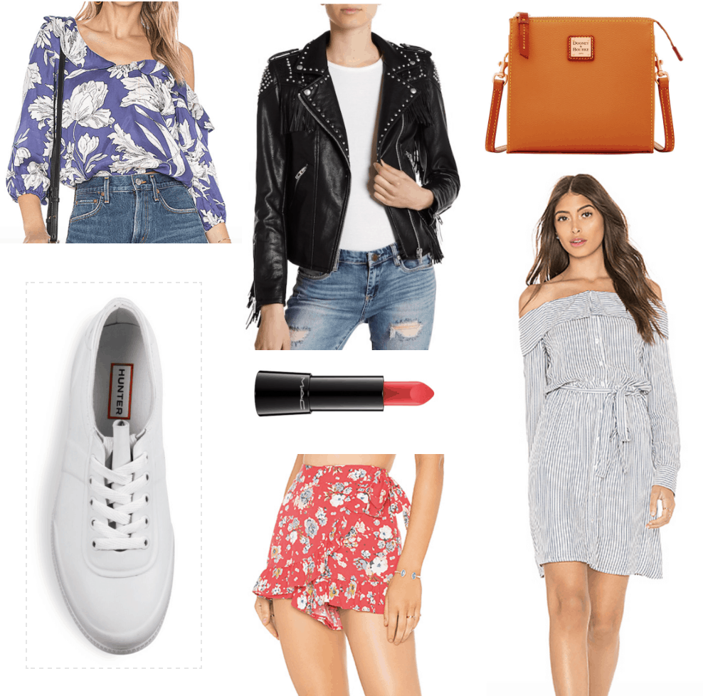 blue floral blouse, white sneakers. leather jacket, lipstick, red shorts, orange bag, striped shirtdress