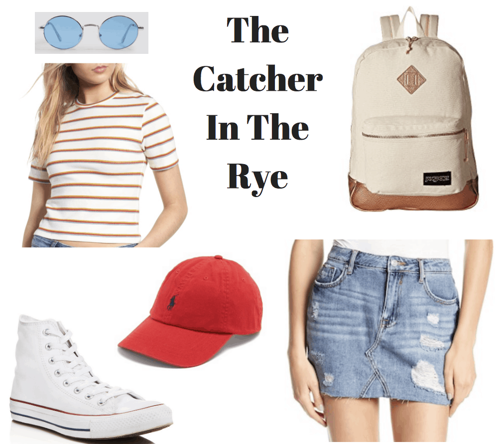sunglasses, striped tee, red cap, converse, backpack, denim skirt