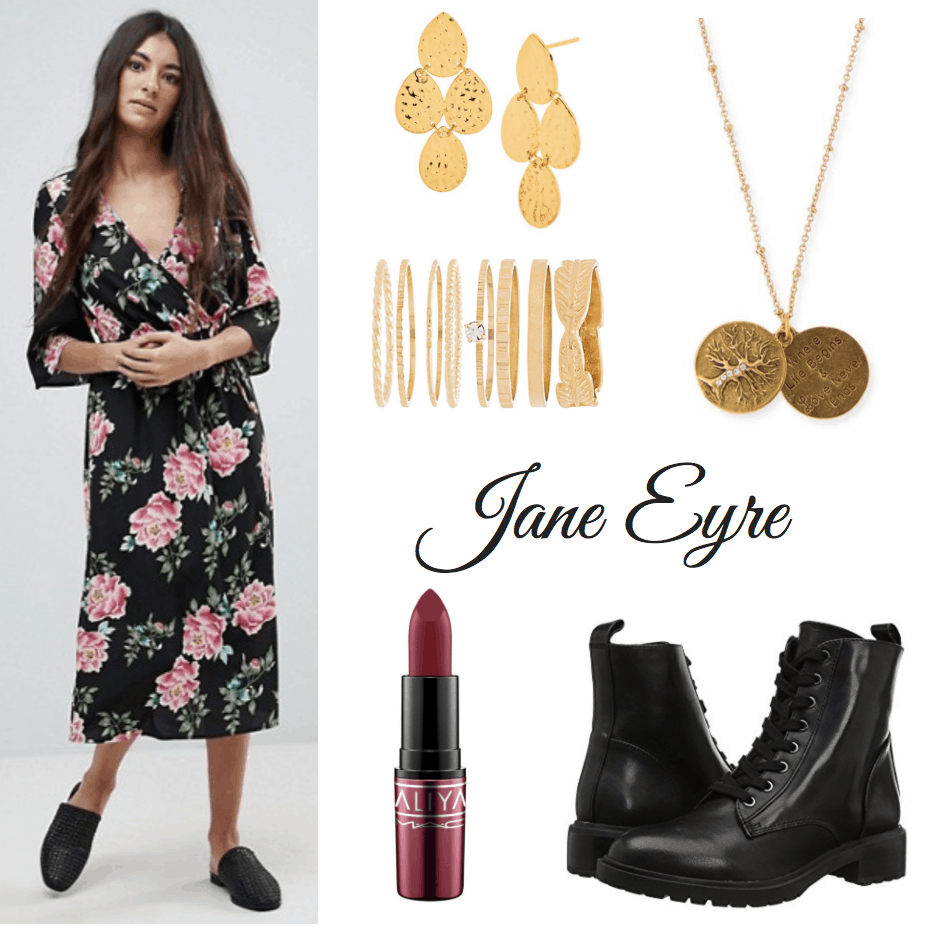 floral dress, gold earrings, ring set and necklace, lipstick, combat boots