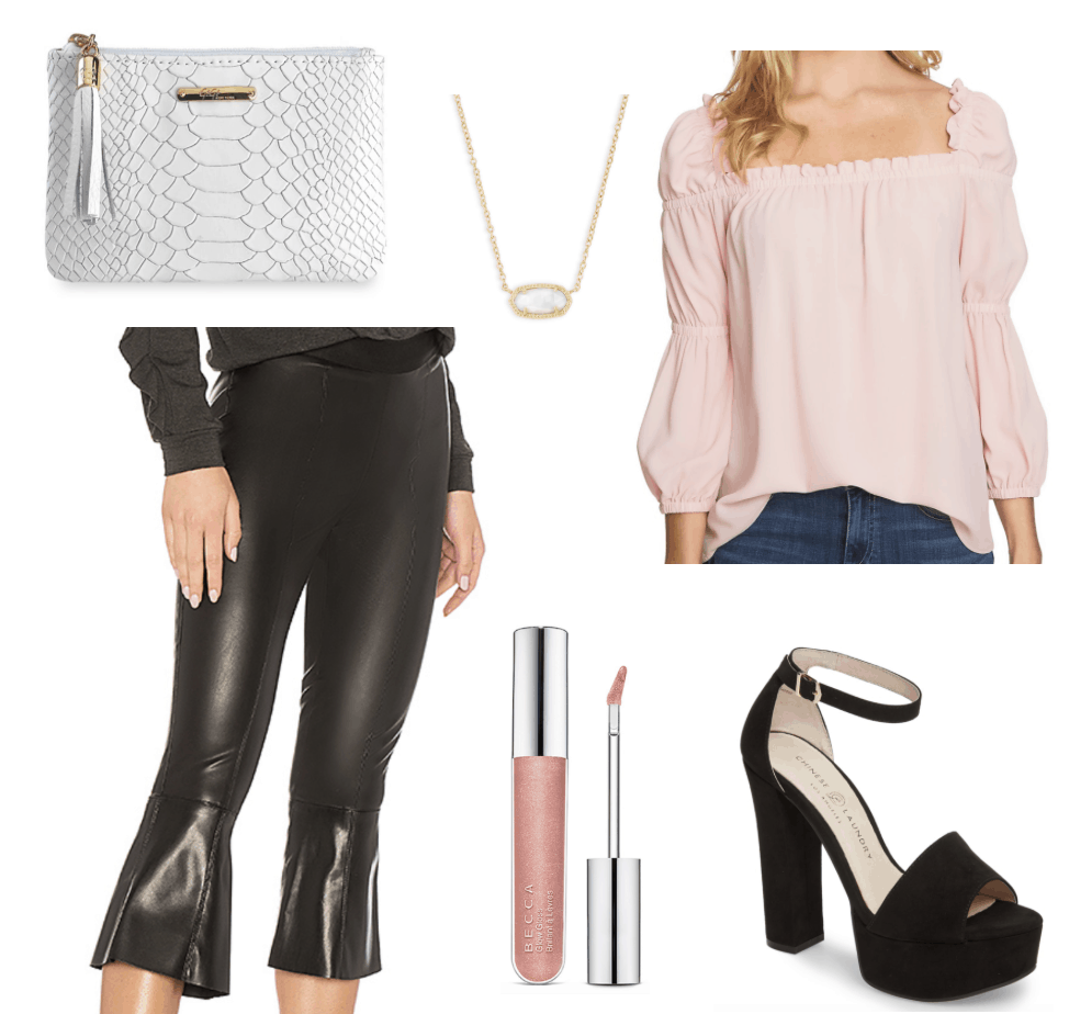 leather clutch, leather capris, pendant, lip gloss, chunky platforms, pink blouse