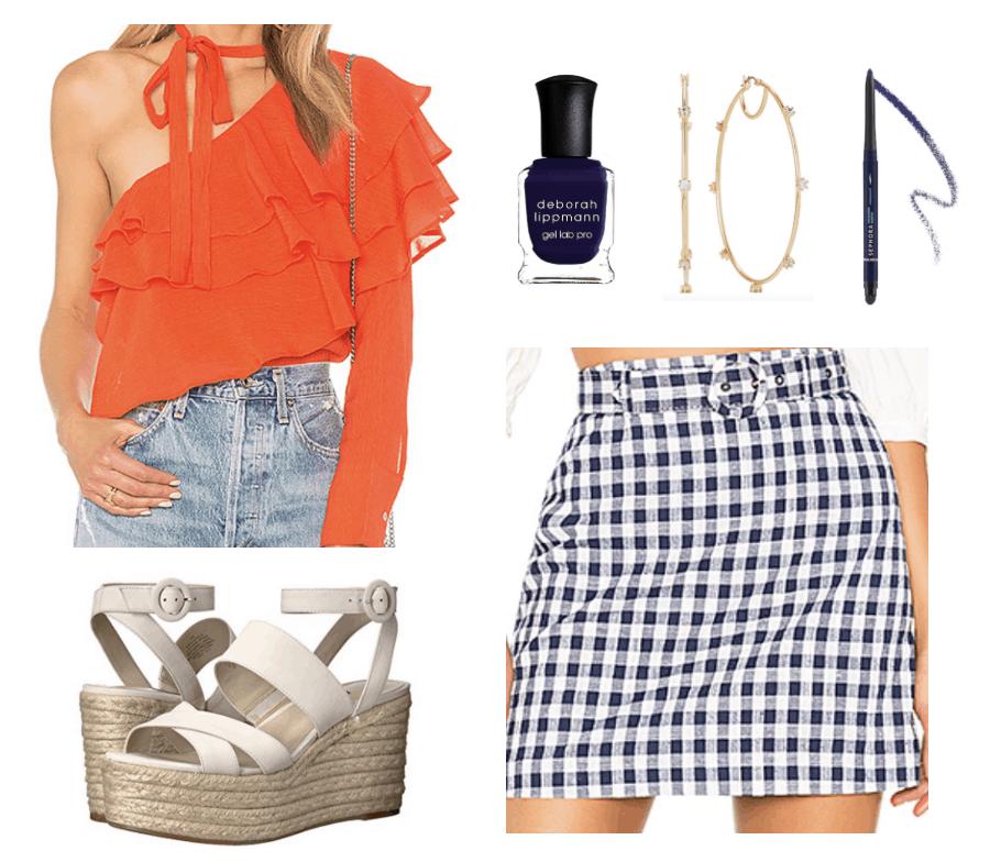 oranger blouse, cream wedges, navy polish and eyeliner, gingham skirt, hoop earrings