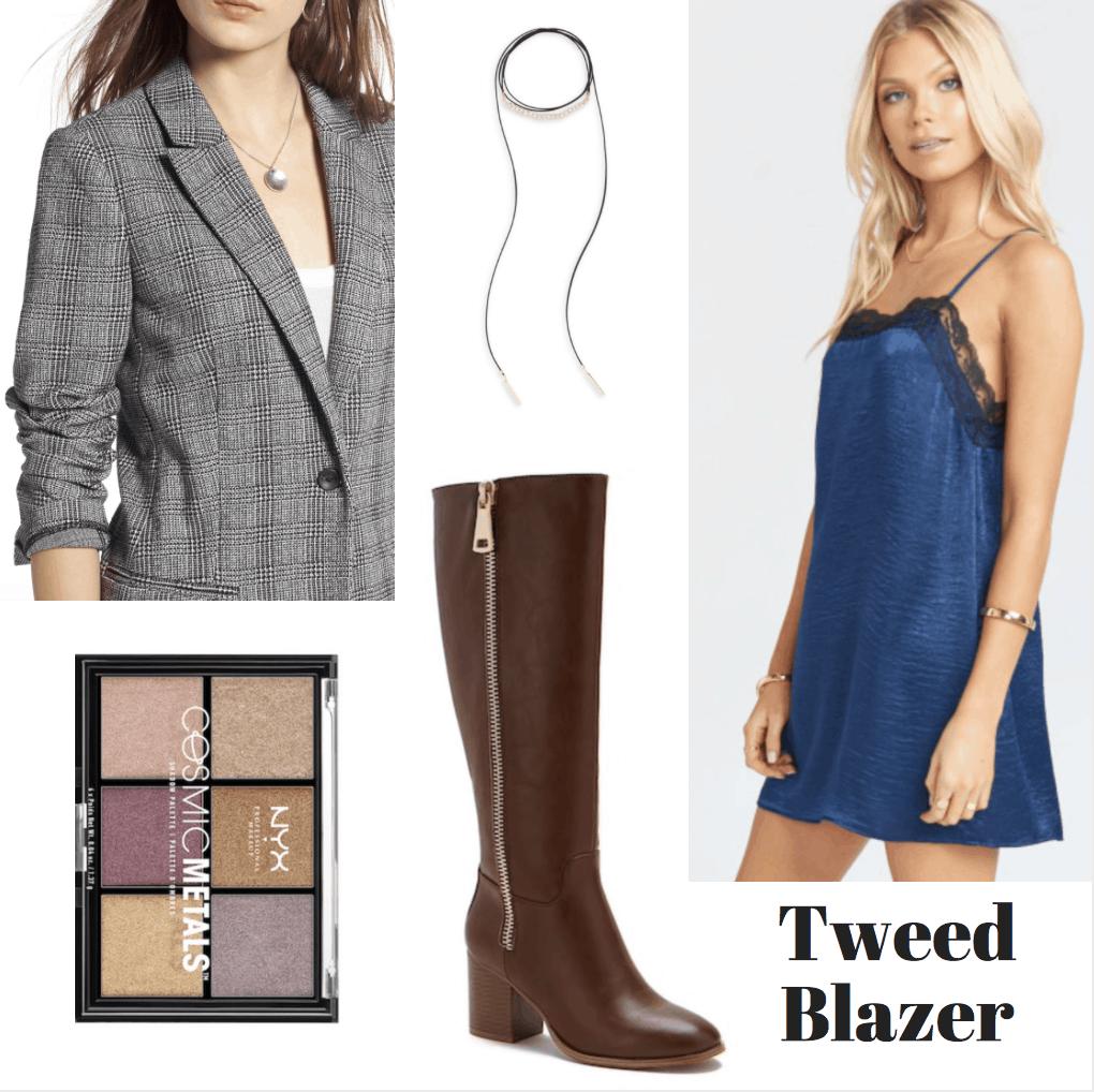 blazer, palette, choker, boots, slip dress