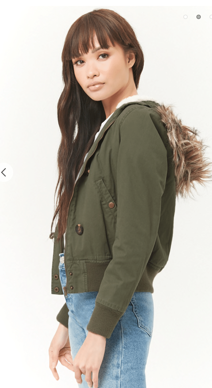 Forever 21 faux fur hooded jacket