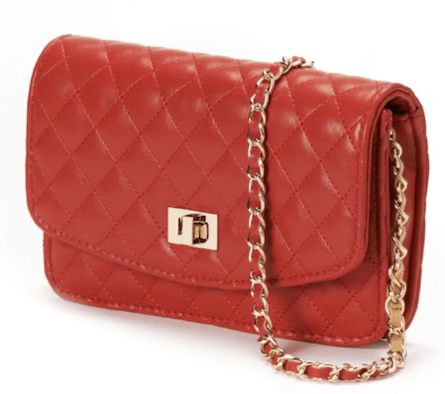 Red quilted bag.